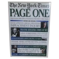 Page One New York Times Front Pages Major Events 1900-1998