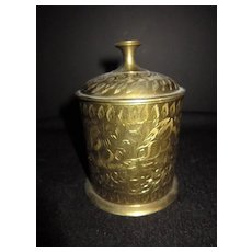 Vintage Brass Decorated Canister (Originally for Cigarettes)