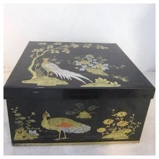 Vintage Metal Box with Oriental Decoration