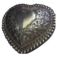 Heart Shaped Glass Box with Silver Plated Lid