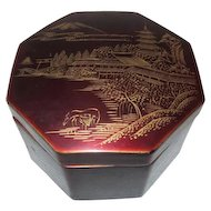 Japanese Red Lacquer Octagonal Box with 8 Coasters
