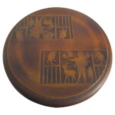Round Lacquer Box with Egyptian Motif on Lid