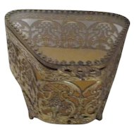 Triangular Shaped Gold Tone Filigree Casket Jewelry Box with Glass Lid