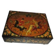 Antique Hand Painted  Black Lacquered Box
