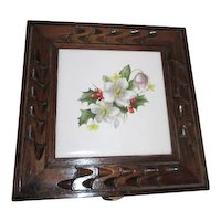 Hinged Wood Box with Floral Decorated Tile Top