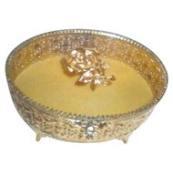 Gold Tone Filigree Sided Casket Box with Glass Lid