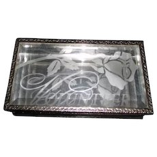 "Glass Box with Beveled Panels Mirrored Bottom Etched Rose with ""Volunteer"""