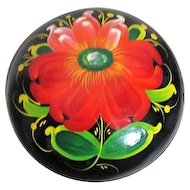 Russian Black Lacquer Round Lidded Box with Hand Painted Flower