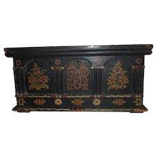 Old Folk Art Hand Painted Casket Style Box