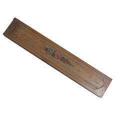 Old Wood Pencil Box with Floral Decoration Sliding Lid