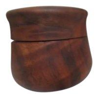 Round Wood Lidded Box Signed