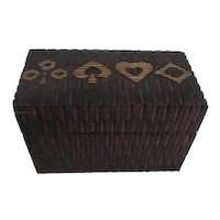 Wood Box Holding Two Decks Playing Cards