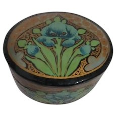 Handpainted Small Oval Paper Mache Box with Floral Decoration