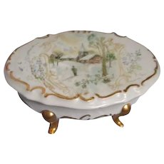 Hand Painted Porcelain Footed Box Signed