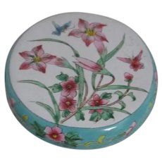 Chinese Enameled Round Covered Box with Pink Lilies