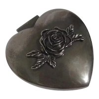Silver Plated Heart Shaped Box with Rose on Lid Velvet Lined