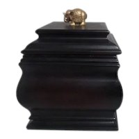 Dark Wood Hinged Lid Box with Goldtone Elephant on Lid