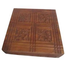 Square Wood Box Hinged Lid Carved Flowers