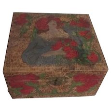 Antique Wood Hankie Box Pyrography Dated 1906