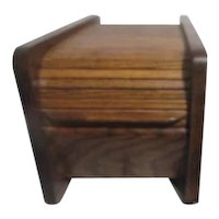 Wood Roll Top Card Storage Box for Office