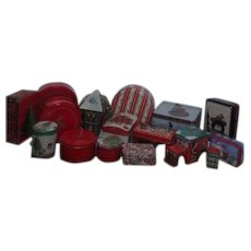 Set of 17 Tin Christmas Boxes Assorted Sizes