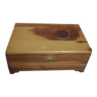 Carved Lid Wooden Jewelry Box with  Mirror Under Lid