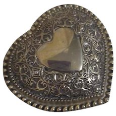 Heart Shaped Gold on Brass Trinket Box