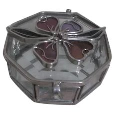 Octagon Glass and Lead Box with Flower on Lid