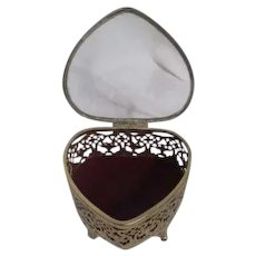 Goldtone Filigree Heart Shaped Casket Jewelry Box Clear Glass Top