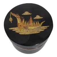 Round Back Lacquer Box with Gold Transfer of Dragon Boat