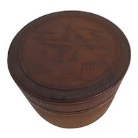 Japanese Round Etched Wood Lidded Box with 6 Coasters