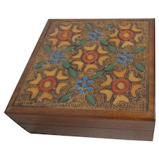Polish Folk Art Hinged Wood Box with Flowers