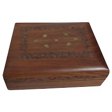 Wood Carved Box with Brass Inlay and Hidden Opener