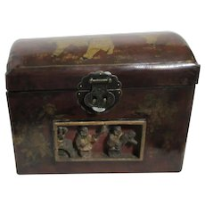 Large Chinese Box with Brass Handles and Inlay of Carved Figures Transfers on Lid