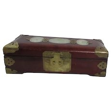 Wooden Jewelry Box with Carved Serpentine Inlay Brass Corners