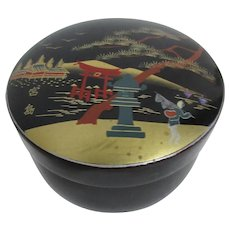 Round Lidded Trinket Box Black Lacquer with Scene