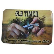 """Old Timer"" Advertising Tin for Pocket Knife"