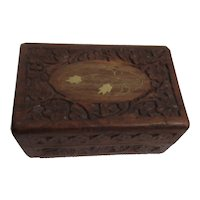 Carved Hinged Wood Box with Inlaid Brass Leaves & Stem