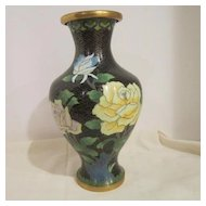 Vintage Collectable Oriental Cloisonne Vase on Brass Metal Base
