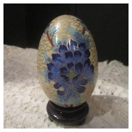 Vintage Cloisonne Egg Decorated with Blue Flowers
