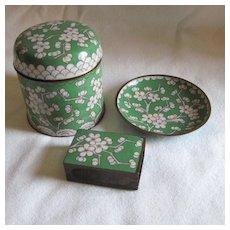 3 Piece Cloisonne Cigarette Set Apple Green
