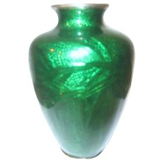 Japanese Green Foil Cloisonne Vase Decorated with Bamboo Design