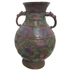 Japanese Champleve Cloisonne Two-Handled Vase with Dragons Design