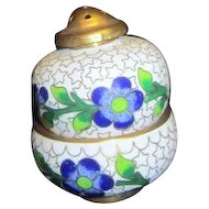 Cloisonne Salt & Pepper with Blue Flower Design