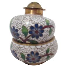 Cloisonne Individual Salt & Pepper Shaker Set Blue Flowers