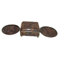Brown Colors Floral Cloisonne Cigarette Box and Two Ashtrays