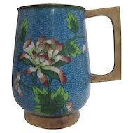 Cloisonne Beverage Mug Blue with Flowers