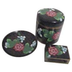 Black and Floral 3 Piece Cloisonne Cigarette Set