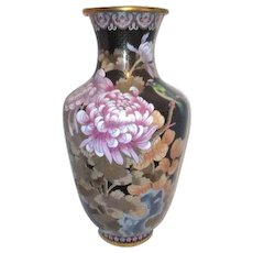 """Large 20"""" High Cloisonne Vase with Chrysanthemums"""