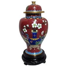 Lidded Cloisonne Ginger Jar with Cherry Blossoms on Wooden Stand